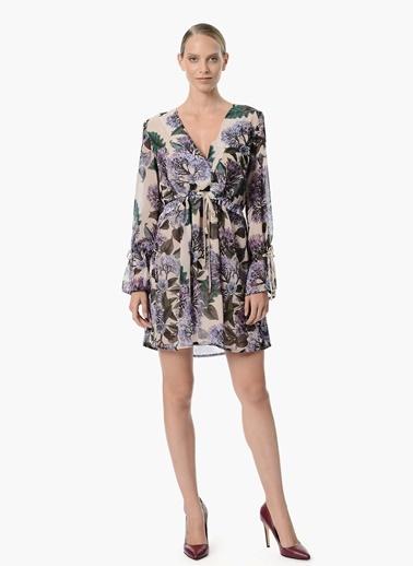 Desenli V Yaka Mini Elbise Network